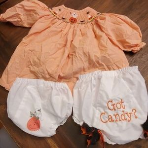 Other - 3 Month Halloween Smocked Dress plus diaper covers